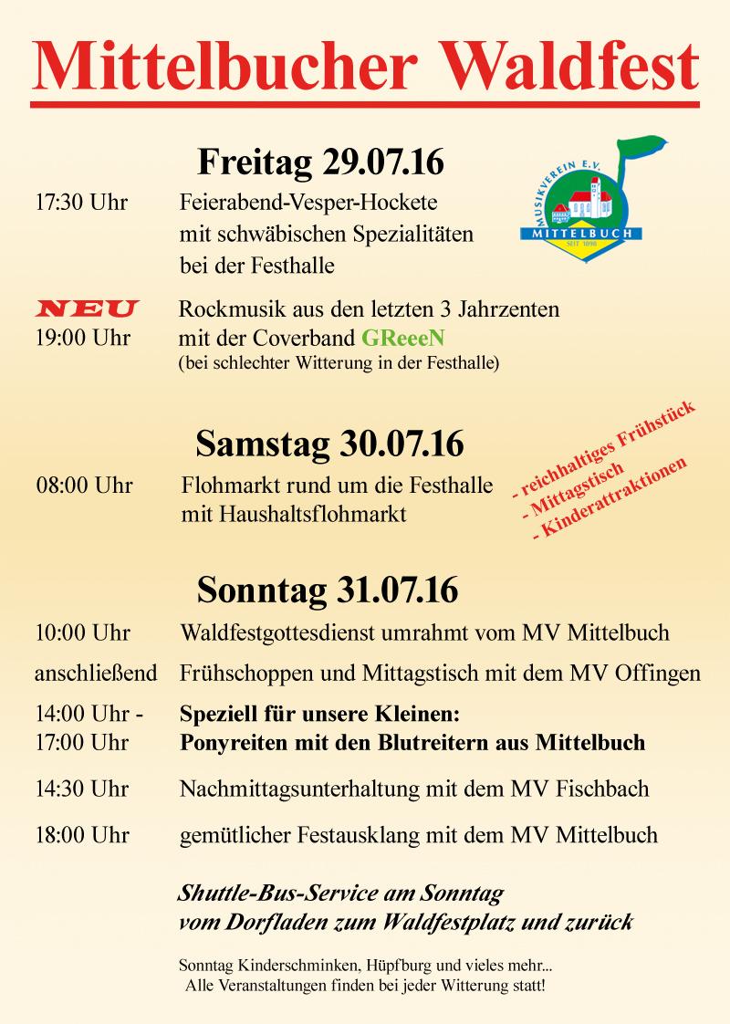 Programm Waldfest 2016